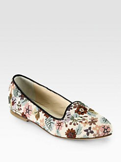 Anniel - Floral-Print Canvas Leather-Trimmed Smoking Slippers