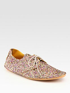 Anniel - Glitter-Coated Canvas Oxfords