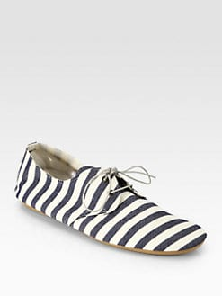 Anniel - Marine Striped Canvas Lace-Up Oxfords