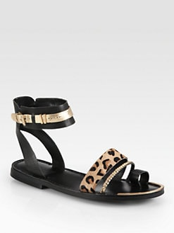 Boutique 9 - Pahana Leopard-Print Calf Hair & Leather Sandals