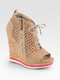 Boutique 9 - Gogetter Leather Lace-Up Cork Wedge Ankle Boots