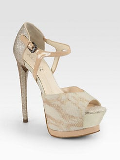 Boutique 9 - Nerissa Snake-Print Leather & Glitter Platform Pumps