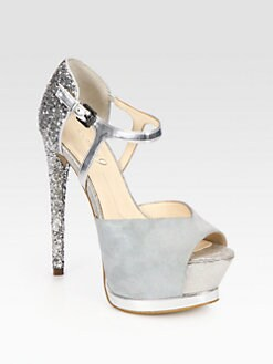 Boutique 9 - Nerissa Glitter & Suede Platform Pumps