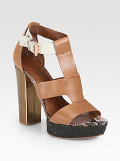 Boutique 9 - Raffia-Trimmed Leather Sandals