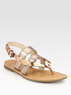 Vera Wang Lavender Label - Annie Metallic Snake-Embossed Leather Sandals