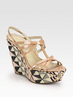 Vera Wang Lavender Label - Tavie Patent Leather & Raffia Wedge Sandals