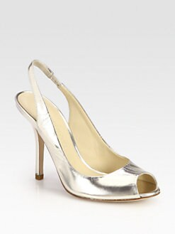 Vera Wang Lavender Label - Chereese Metallic Leather Slingback Pumps