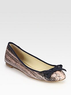 Vera Wang Lavender Label - Laetitia Snake-Embossed Leather Ballet Flats