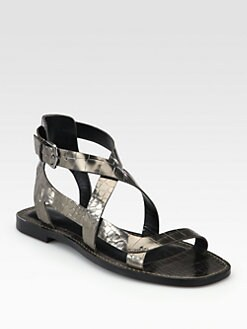 Sigerson Morrison - Ariel Metallic Crocodile-Embossed Leather Sandals