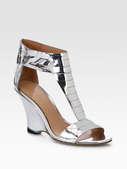 Sigerson Morrison - Ruby Metallic Leather Wedge Sandals
