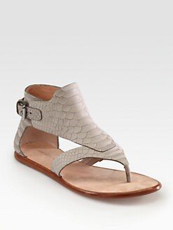 Sigerson Morrison - Gillian Crocodile-Embossed Leather Sandals
