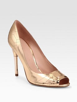 Sigerson Morrison - Kitty Metallic Leather Geometric-Etched Pumps
