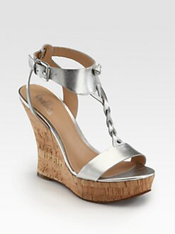 Belle by Sigerson Morrison - Bela Braided Metallic Leather Cork Wedges