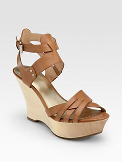 Belle by Sigerson Morrison - Call Leather Wooden Wedge Sandals