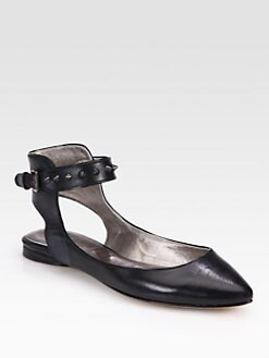 Belle by Sigerson Morrison - Verita Studded Leather Ankle Strap Ballet Flats