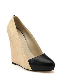 Charline De Luca - Martin Raffia & Leather Wedge Pumps