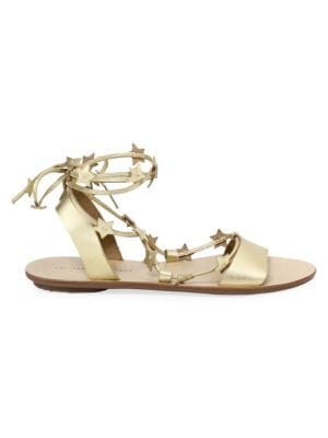 Starla Star-Detail Leather Lace-Up Sandals