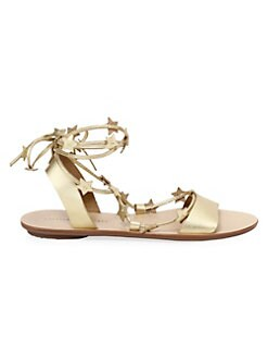 Loeffler Randall - Starla Star-Embellished Metallic Leather Sandals
