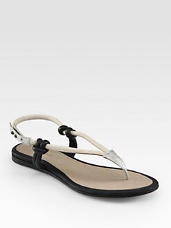 L'AGENCE - Dana Snake-Embossed Leather Thong Sandals