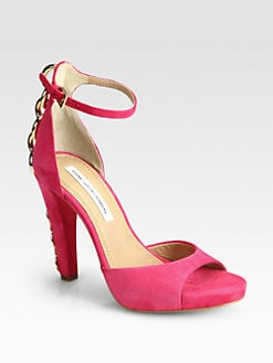 Diane von Furstenberg - Sofia Chain-Detailed Suede Ankle-Strap Sandals