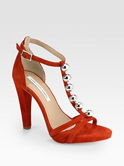 Diane von Furstenberg - Sanaa Ball-Detailed Suede T-Strap Sandals
