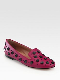 RED Valentino - Embellished Leather Smoking Slippers