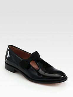 RED Valentino - Tuxedo Patent Leather Bow Loafers