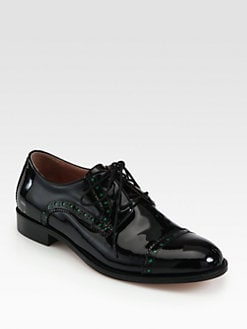 RED Valentino - Patent Leather Lace-Up Oxfords