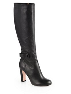 RED Valentino - Leather Bow Knee-High Boots