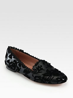 RED Valentino - Velvet Embellished Metallic Leather Smoking Slippers