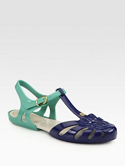 Melissa - Bicolor PVC T-Strap Sandals
