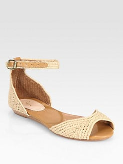 Joie - Eastwood Raffia & Leather Sandals