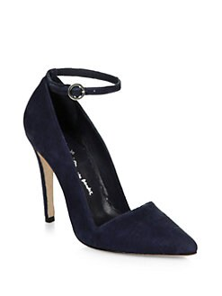 Alice + Olivia - Diana Suede Ankle Strap Pumps