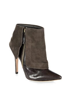 Alice + Olivia - Dawson Leather & Suede Ankle Boots