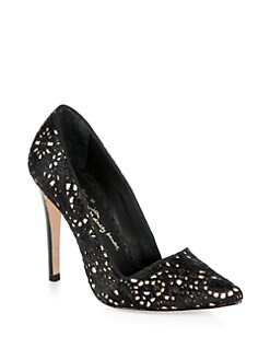 Alice + Olivia - Dina Lasercut Calf Hair Pumps