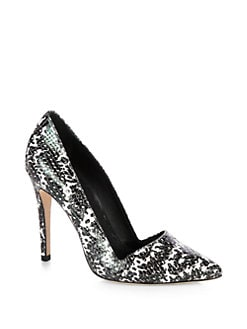 Alice + Olivia - Dina Snake-Print Leather Pumps