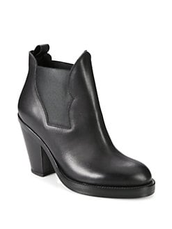 Acne - Stretchy Leather Ankle Boots