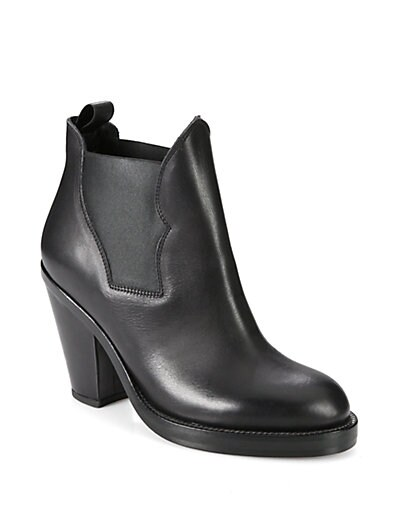 Stretchy Leather Ankle Boots