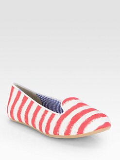 Charles Philip Shanghai - Tropez Striped Cotton Smoking Slippers