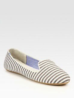 Charles Philip Shanghai - Tropez Striped Canvas Smoking Slippers