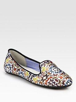 Charles Philip Shanghai - Tasmine Kaleidoscopes Satin Smoking Slippers