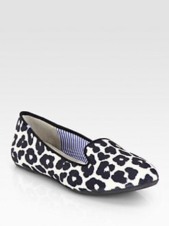 Charles Philip Shanghai - Sheila Jaguar-Print Satin Smoking Slippers