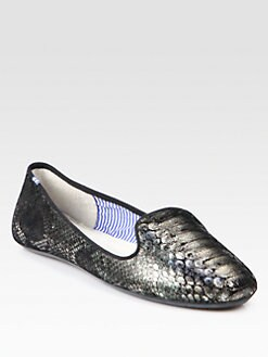 Charles Philip Shanghai - Lizzette Snake-Embossed Leather Smoking Slippers