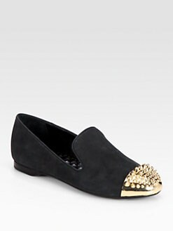 Boutique 9 - Yendo Metal Cap-Toe Suede Smoking Slippers