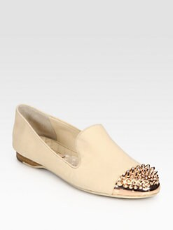 Boutique 9 - Yendo Metal Cap-Toe Leather Smoking Slippers
