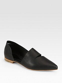 McQ Alexander McQueen - Slash Point-Toe Leather Flats