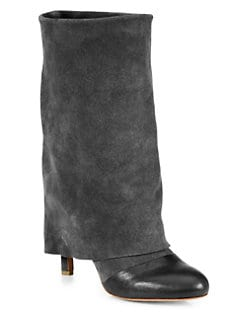 See by Chloe - Suede & Leather Fold-Over Boots