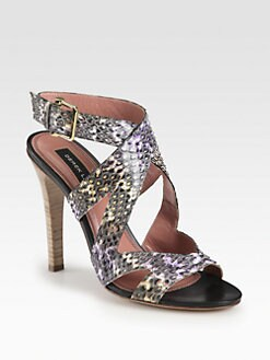 Derek Lam - Freda Snakeskin Crisscross Sandals