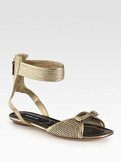 Derek Lam - Hurley Metallic Leather Ankle Strap Sandals