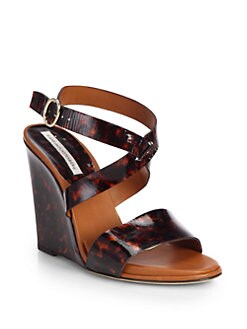 Diane von Furstenberg - Wilma Tortoise-Print Patent Leather Wedge Sandals
